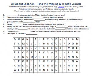 Lebanon Worksheet - Geography for Kids FREE Hidden Word Search ...
