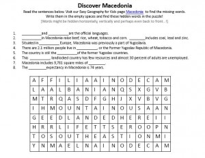 Download our FREE Macedonia Worksheet for Kids!