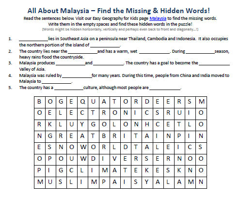 Download our FREE Malaysia Worksheet for Kids!