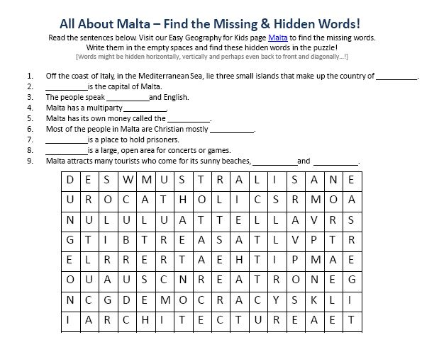 Of Malta Worksheet Free Printable Geography For Kids Find. Of Malta Worksheet Free Printable Geography For Kids Find The Words Puzzle. Printable. Printable Find A Words At Clickcart.co