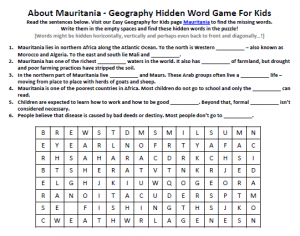 Download our FREE Mauritania Worksheet for Kids!