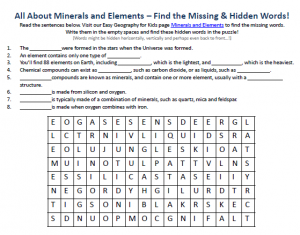Download our FREE Minerals and Elements Worksheet for Kids!