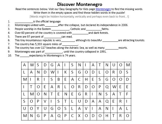 Download our FREE Montenegro Worksheet for Kids!