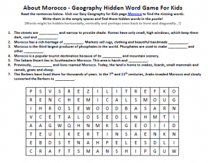 Download our FREE Morocco Worksheet for Kids!