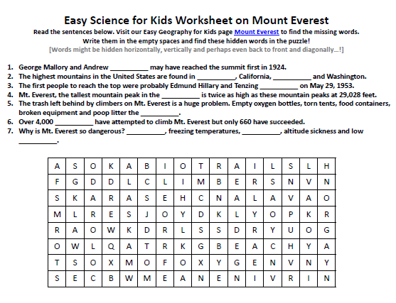 Download our FREE Mount Everest Worksheet for Kids!