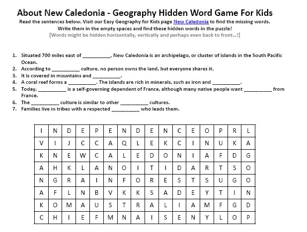 Download our FREE New Caledonia Worksheet for Kids!