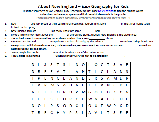 Download our FREE New England Worksheet for Kids!