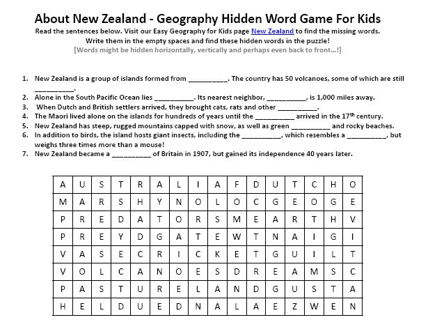 Printables Printable Geography Worksheets image of new zealand worksheet free to download printable geography hidden words game