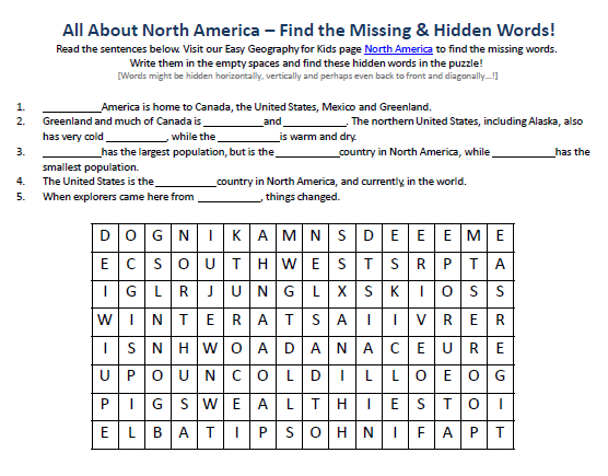North America Worksheet - FREE Online Printable Word Seek and Find