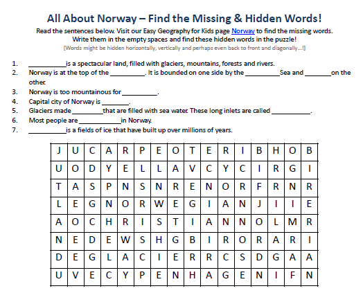 Image of Norway Worksheet - Free Printable Geography Worksheets ...