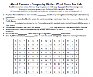 Download our FREE Panama Worksheet for Kids!