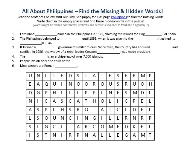 Image of Philippines Worksheet Free Geography Comprehension – Science Comprehension Worksheets