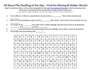 Download our FREE Pile Dwellings of the Alps Worksheet for Kids!