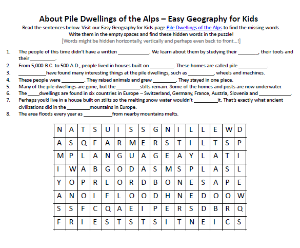 Of Pile Dwellings The Alps Worksheet Free Geography. Of Pile Dwellings The Alps Worksheet Free Geography Worksheets To Download. Worksheet. Worksheet Maker Geography At Clickcart.co