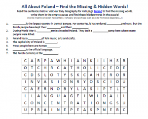 Download our FREE Poland Worksheet for Kids!