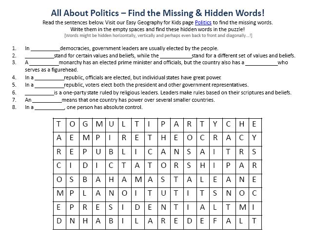 Download our FREE Politics Worksheet for Kids!
