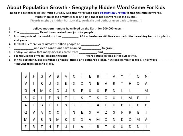Image Of Population Growth Worksheet Free Geography For