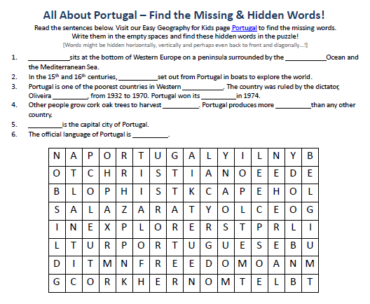 Portugal Worksheet - FREE Word Search Puzzles Printable