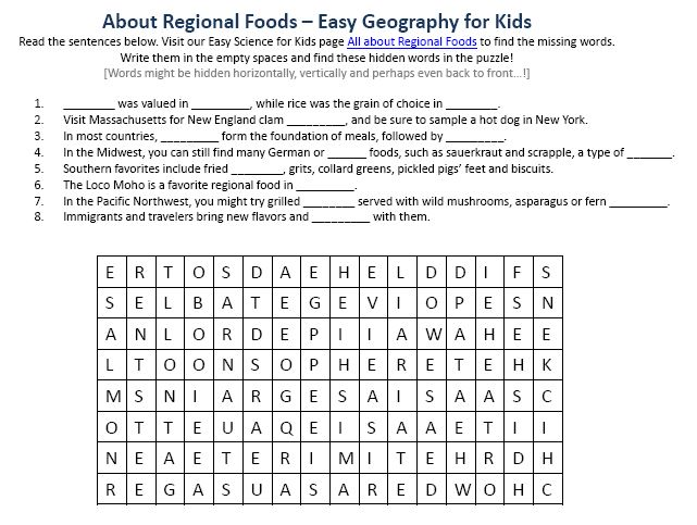 Image of Regional Foods Worksheet - Free Planet Earth Worksheets ...