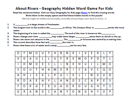 Rivers Worksheet FREE Geography Hidden Words Puzzle on Rivers – Geography Terms Worksheet