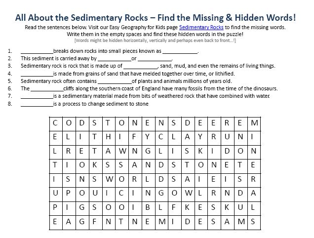 Image of Sedimentary Rocks Worksheet - Free Geography Hidden Word ...