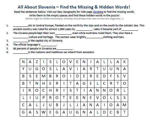 Download our FREE Slovenia Worksheet for Kids!