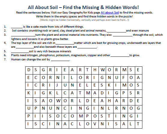 Soil Worksheet - Geography for Kids FREE Hidden Word Search Puzzles