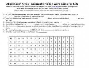 South Africa Worksheet - Science Activities for Kids Worksheets