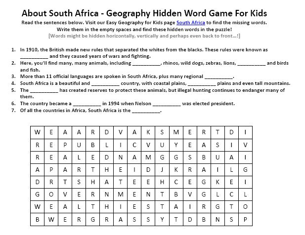 Of South Africa Worksheet Free Geography Hidden Words Game. Of South Africa Worksheet Free Geography Hidden Words Game. Worksheet. Africa For Kids Worksheets At Clickcart.co