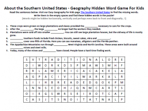 Printables United States Geography Worksheets southern united states worksheet free earth science hidden words download our for kids