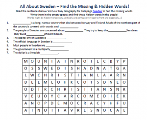 Download our FREE Sweden Worksheet for Kids!