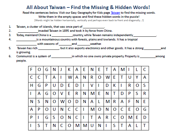 Image of Taiwan Worksheet Free Earth Science Printable Word – Printable Word Search Worksheets