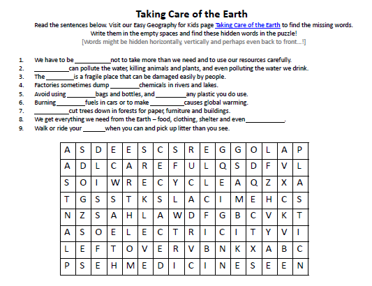Image Of Taking Care Of The Earth Worksheet Science Activities For