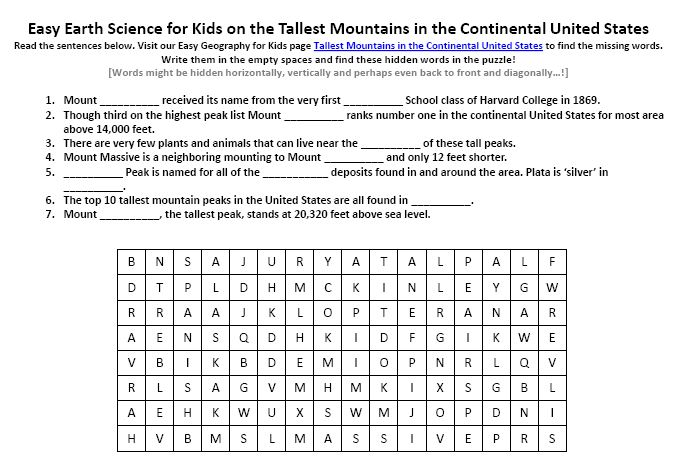 Printables United States Geography Worksheets image of tallest mountains in the continental united states worksheet fun geography worksheets for kids