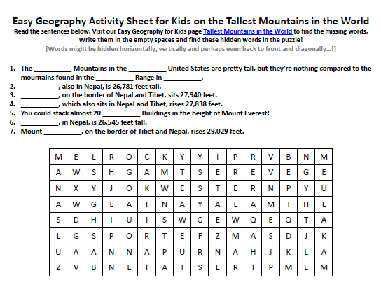 Image of Tallest Mountains in the World Worksheet - Free Geography ...