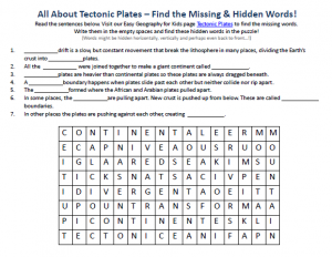 tectonic plates worksheet free online printable word search game on tectonic plates. Black Bedroom Furniture Sets. Home Design Ideas