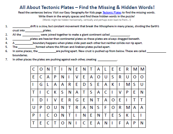 Image Of Tectonic Plates Worksheet Geography Find The