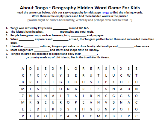 Download our FREE Tonga Worksheet for Kids!