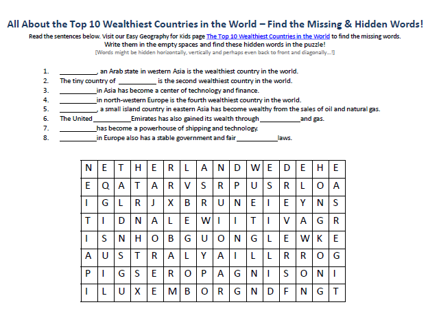 Image of Top 10 Wealthiest Countries in the World Worksheet - Free ...