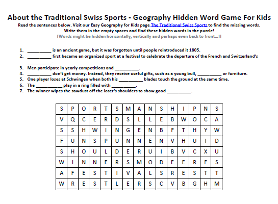Image Of Traditional Swiss Sports Worksheet FREE Hidden Words Puzzles Printable