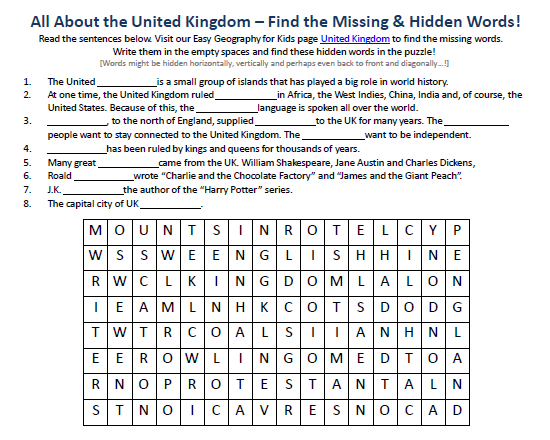 United Kingdom Worksheet - FREE Printable Seek a Word Puzzles