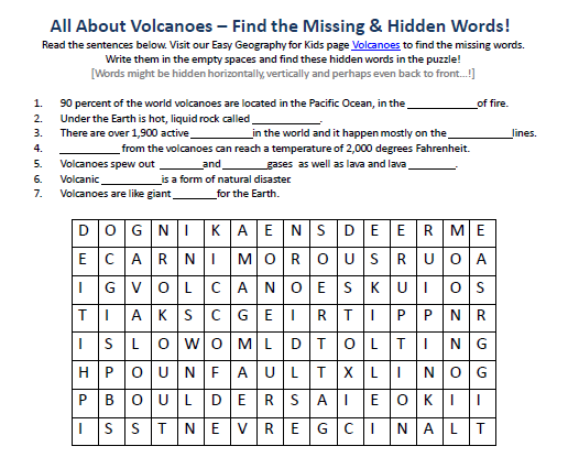 Of Volcanoes Worksheet Free Downloadable Geography For. Of Volcanoes Worksheet Free Downloadable Geography For Children Hidden Words Puzzle. Worksheet. Types Of Volcanoes Worksheet At Mspartners.co