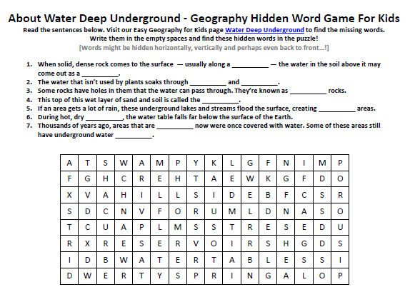 Download our FREE Water Deep Underground Worksheet for Kids!