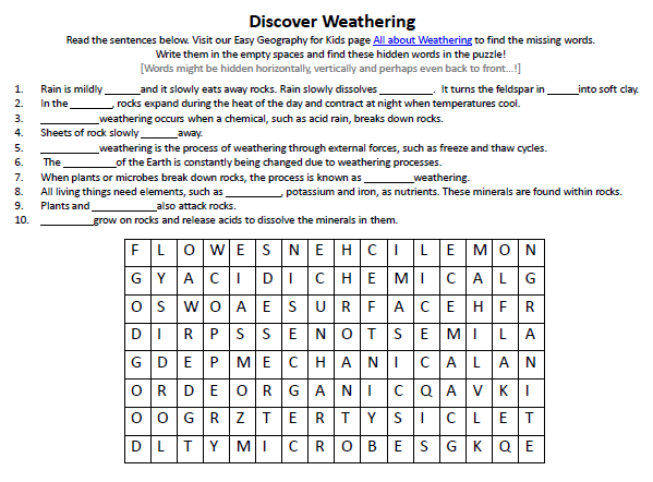 {Weathering Worksheet FREE Printable Word Search Games for Kids – Weathering Worksheet