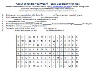 Download our FREE What Do You Wear Worksheet for Kids!
