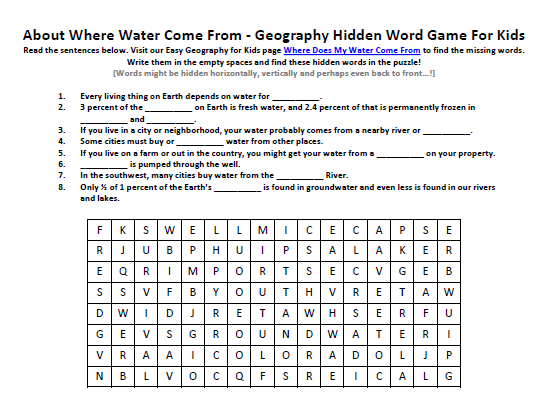 Download our FREE Where Water Come From Worksheet for Kids!