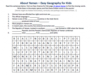 Download our FREE Yemen Worksheet for Kids!