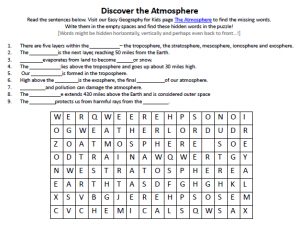 Printables Layers Of The Atmosphere Worksheet layers of the atmosphere worksheet davezan for kids davezan