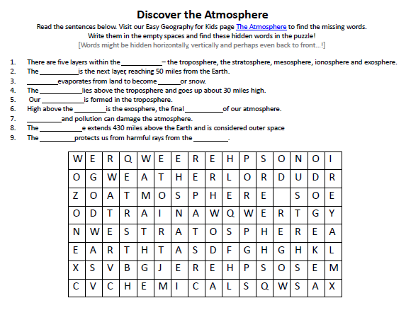 Video Worksheet, Quiz &amp- Ans. for Bill Nye - Atmosphere *
