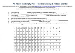 Download Our FREE the Empty Pot a Chinese Folk Story about Honesty Worksheet for Kids!